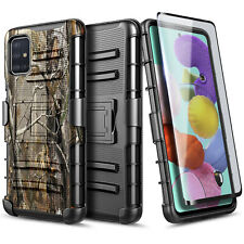 For Samsung Galaxy A71 5G Case Holster Belt Clip Cover +Tempered Glass Protector
