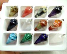 12pc Mixed Agate Healing Reiki Chakra Physical Pendulum GEMSTONE Loose Beads AC