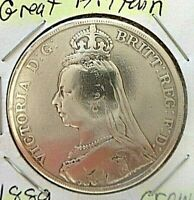 1889 Great Britain Crown Queen Victoria- Sterling Silver