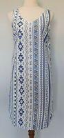 Womens Size M Casual White Blue Cotton Boho Geometric Sleeveless Shift Dress