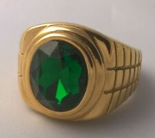 G-Filled 18ct yellow gold oval simulated emerald Men's ring USA 12 AUS Y green