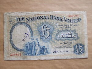 NATIONAL  BANK  £5  NOTE, 1937.