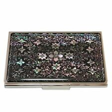 Mother of Pearl Black Metal Business Credit Name Wallet Card Money Holder Case
