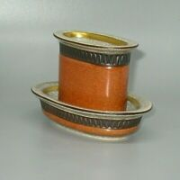 Vintage Royal Copenhagen Orange/Grey Crackle Tobacco Urn & Ashtray MCM Denmark