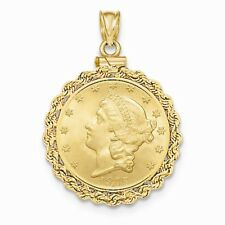 14k Yellow Gold Polished Screw Top 5 Old US Coin Fancy Bezel Mounting Pendant