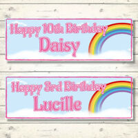 2 PERSONALISED RAINBOW BIRTHDAY BANNERS -  800 x 297mm - ANY NAME - ANY AGE