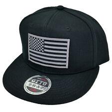 Grey American USA Flag Military Patch Flat Bill Snapback Baseball Cap Hat by P.T