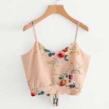 Women Self Tie Back V Neck Floral Print Crop Top Cami Vest Camisole Blouse Shirt