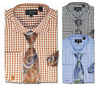 C. Allen Mens Dress shirt Tie Combo French cuff Unique Checks Black Brown