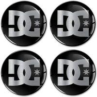 4 x 50mm Autocollant 3D Cache-Moyeux Enjoliveurs Centre De Roue DC Logo Noir
