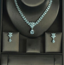 18k White Gold Necklace Earrings Set made w/ Swarovski Crystal Full Stone Bridal
