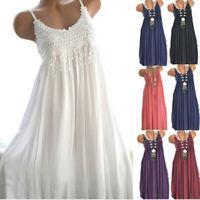 Women's Fashion Sleeveless Summer Tassel Cotton Fashion Tank Long Dress