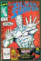 Silver Surfer #37 VF Marvel Comics 1990 Warlock & Captain Marvel Appearance