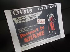 A3 SIZE FILM POSTER  ' PASSPORT  TO SHAME'  DIANA DORS, ABC CINEMA  LEEDS