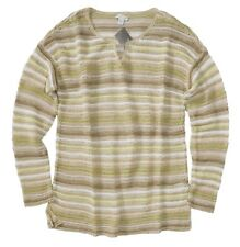 J. Jill - Women's L - NWT - Multi Striped Linen Blend Loose Knit Sweater