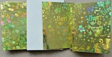 10 x A6 Holographic Gold Single Fold Card Blanks & White Envelopes NEW