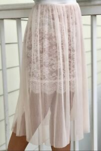 Victoria's Secret Semi Sheer Lace Midi Skirt With Pleated Tulle Overlay M NWT