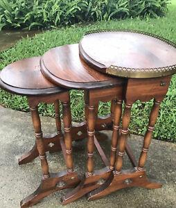 Vintage Solid Wood Nesting Tables Metal Trim SET of 3 FARMHOUSE MCM Boho Decor