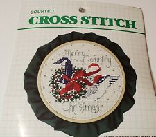 """Merry Christmas Vintage """"1987"""" DMC  Counted Cross Stitch Kit 5in"""