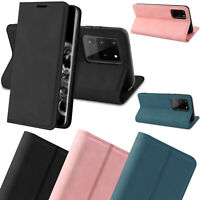 Genuine Leather Folio Flip Wallet Case Cover For Samsung Galaxy S20+ Ultra Plus