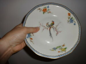 Eden BIRD OF PARADISE  2 soup bowls Theodore Haviland France LIMOGES