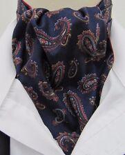 Mens Navy Blue & Burgundy Paisley Cotton Ascot Cravat & Pocket Square - UK Made