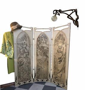 A&O Art Nouveau Room Divider Folding Screen Alfons Mucha, mini version