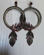 LOLLIPOPS GRANDES BOUCLES D'OREILLE FANTAISIE METAL FEATHER CREOLE FUCHSIA
