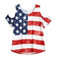 Women Summer Cold Shoulder Casual Shirt Blouse Flag Printed Short Sleeve Tops