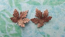 Small Rose Gold Ox Brass Maple Leaf Stampings (2) - Rgs8890