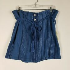 Indigo Rein Womens Size XL Blue Striped Linen Button Front Skirt With Tie Waist