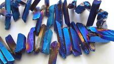 """Large Stick Irregular Blue Titanium Coated Crystal Gemstone Beads - 7.5"""" Strand"""