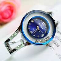 New Women Bangle Crystal Dial Stainless Steel Quartz Analog Wrist Bracelet Watch
