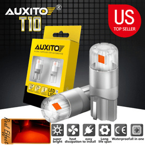 AUXITO T10 LED License Plate Light Car Door Light Bulbs Red 168 2825 194 W5W