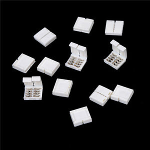 10Pcs 4-PIN RGB Connector Adapter For 5050 RGB LED Strip Solderless 10mm Gn