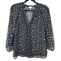 Joie Womens Black Floral Silk V Neck Button Blouse Top Size XS