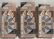 3X  L.A. COLORS NAIL FRILL GLUE ON  NAILS 30 LONG STILETTO TIP *NATURAL NUDE
