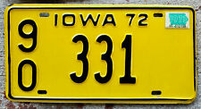 1972 Black on Yellow Iowa License Plate 90 = Wapello County with a 1973 Sticker