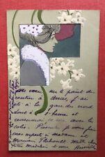 CPA. Illustrateur Henri MEUNIER ? 1903. Art Nouveau. Fond Vert. Femme. Lys?