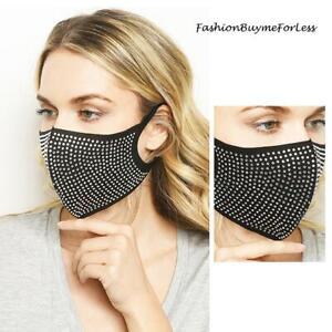 Unisex BLK Washable BLING Sparkly Crystal Rhinestone Reusable Fashion Face Mask