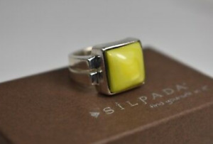 Silpada Sterling Silver Green Mother of Pearl R1270 Ring MOP Square Solid Size 7