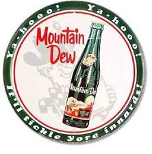 "Mountain Dew Sign Bottle 12"" Round Tin YaHoo Vintage Advertising Metal Pop Soda"