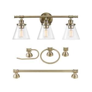 Parker 3-Light Antique Brass 5-Piece All-In-One Bath Vanity Light Set by Globe E