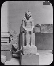 Glass Magic Lantern Slide AMENEMHAT III STATUE C1900 PHOTO EGYPT PHARAOH