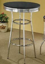 50's Retro Soda Fountain Bar Table with a Black Top by Coaster 2405