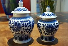 2 small Chinese Antique Zun Flower Ginger Jar with point Lid Blue White No Marks