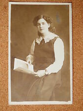 R&L Postcard: Vintage Photo of Edwardian Lady Reading Professional Photographer
