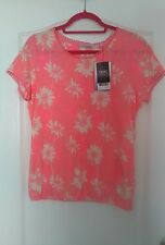 NEXT PINK AND CREAM PRINT TOP WITH ELASTIC WAIST SIZE 12 NEW