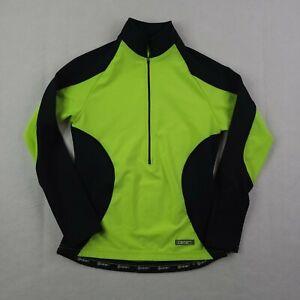 Canari Cycling Shirt Adult Medium Women Green Black 1/2 Zip Pullover Mock Neck