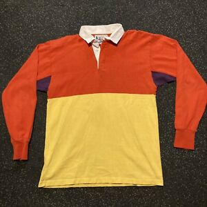 Vintage Columbia Knit Rugby Wear Colorblock Long Sleeve Rugby Shirt Large